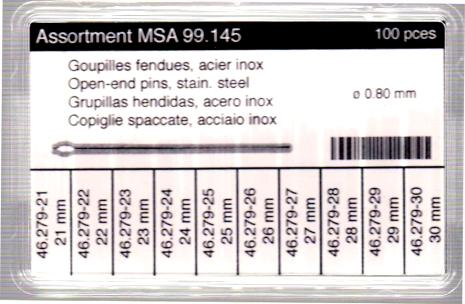 SORT. U-STIFT 0,8 22-30 MM TOTALT 100 STYCK