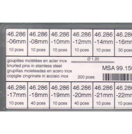 SORT. RÄFFLADE STÅLSTIFT 1,2 M 200 st 6-22 mm