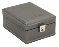 BOX FÖR 4 UR, GRÅ SYNTET 14x20x9 cm Carbon
