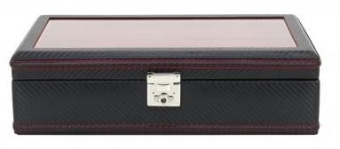BOX FÖR 10 UR, SVART SYNTET 35x19,5x10 cm Carbon