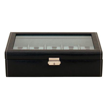 BOX FÖR 10 UR, SVART SYNTET 30x17x8,5 cm Bond