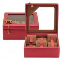 BOX FÖR 6 UR, RÖD SYNTET 36x12x9 cm Amira