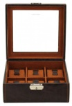BOX FÖR 6 UR, MÖRKBRUN SYNT 18x17x8,5 cm Bond