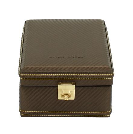BOX FÖR 4 UR, BRUN SYNTET 14x20x9 cm Carbon