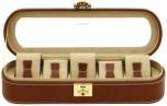 BOX FÖR 5 UR, BRUNT LÄDER 29x9,5x8 cm, Cordoba