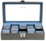BOX FÖR 10 UR, GRÅ SYNTET 35x19,5x10 cm Carbon