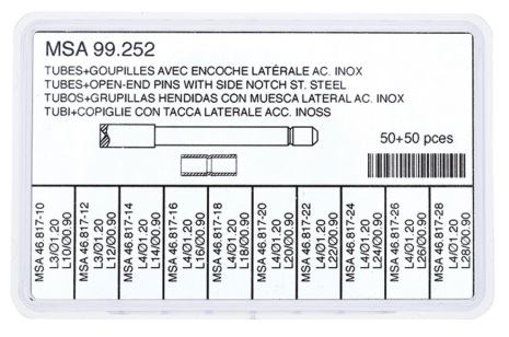 SORT. 1RÖR+1STIFT MED FLÄNS jämna 50+50 st, rostfritt stål 10-28 mm