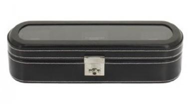 BOX FÖR 5 UR, SV LÄDER VIT SÖM 33x11x8,5 cm London, glaslock