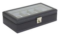 BOX FÖR 10 UR, MÖRKBLÅ CARBON 30x17x8,5 cm