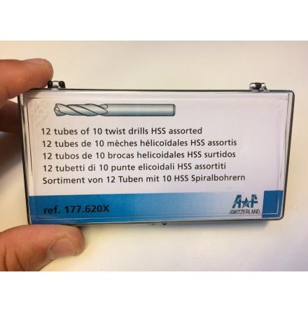 BORR, 120 st SPIRALBORR snabbst HSS 0,30 - 1,40 mm, skaft 1,80 10st av varje storlek