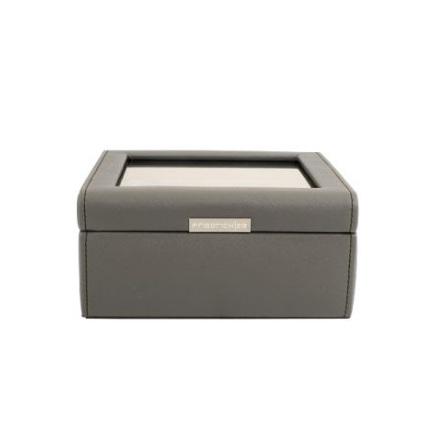 BOX FÖR 6 UR, BRUNGRÅ SYNTET 18 x18 x 8,5 cm vävstruktur