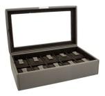 BOX FÖR 10 UR, BRUNGRÅ SYNTET 30 x18 x 8,5 cm vävstruktur